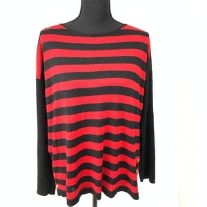 Black and Red Striped Long Sleeve Blouse L
